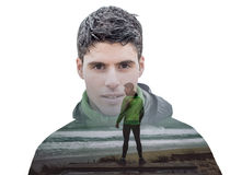 Double exposure portrait of a runner Royalty Free Stock Images