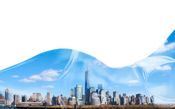 Double exposure portrait of woman in bikini and New York City skyline. Double exposure portrait of woman in bikini and New York City Manhattan skyline isolated Stock Images