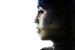 Double exposure portrait of a woman Stock Image