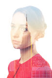 Double exposure portrait of woman and New York City skyline Royalty Free Stock Photo