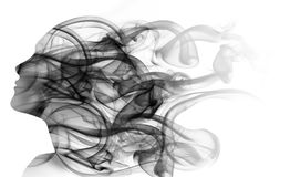 Double exposure portrait of woman and smoke. Double exposure portrait of woman`s face and black smoke Stock Photos