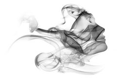 Double exposure portrait of woman and smoke. Stock Photo
