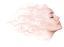 Double exposure portrait of woman and smoke. Royalty Free Stock Photography