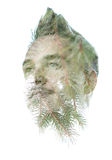 Double exposure portrait of young man Royalty Free Stock Photo