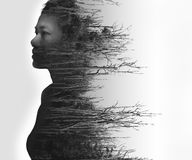 Double exposure portrait of young woman and dried forest. Double exposure portrait of young woman and dead forest in black and white Royalty Free Stock Photos