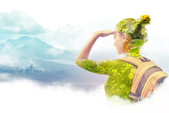 Double exposure portrait of young woman traveler looking at Batu. Double exposure portrait of young woman  traveler looking at Batur volcano. Indonesia Royalty Free Stock Photos