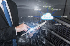 Double exposure of professional businessman connecting cloud Stock Photos