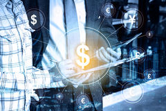 Double exposure Professional businessman and global currency royalty free stock images