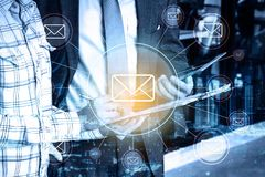 double exposure Professional businessman and global email connection stock illustration