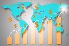 Double exposure with red world map with downward bar graph from Royalty Free Stock Image
