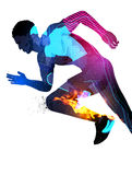 Double Exposure Running Man. Double exposure effect vector illustration of a running sports man with texture effects Royalty Free Stock Images