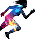 Double Exposure Running Woman. Double exposure effect vector illustration of a running sports woman with texture effects Stock Photos