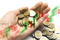 Double exposure of Saving the Coins of thailand with stock marke Royalty Free Stock Photography