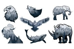 Double exposure set - elephant, rhinoceros, wolf, eagle, crows, whale, girl. Wildlife for your design, outdoors symbol. Vector graphics to design Vector Illustration