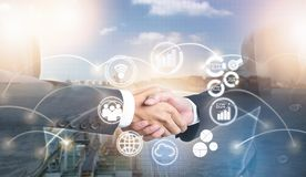 Double exposure of shaking hand business people for success deal with new icon stock image