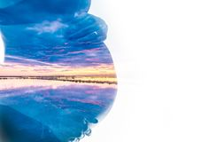 Double exposure. Silhouette of pregnant woman combined with a sunrise over the sea. Symbolizing the beginning of a new life vector illustration