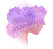 Double exposure silhouette of woman with splashed water color. Double exposure silhouette of woman with splashed water color on paper Royalty Free Stock Images