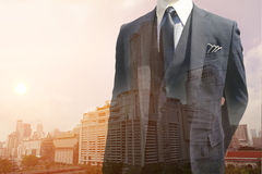 Double Exposure of Smart Business man and Cityscape Royalty Free Stock Images