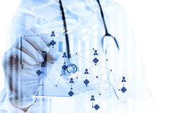 Double exposure of smart medical doctor Stock Images