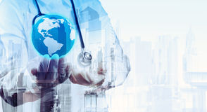 Double exposure of smart medical doctor holding Royalty Free Stock Image