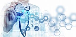 Double exposure of smart medical doctor working