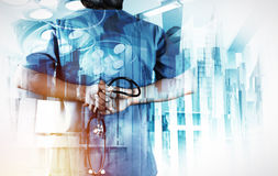 Double exposure of smart medical doctor working Stock Images