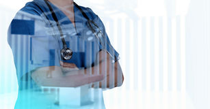 Double exposure of smart medical doctor working Royalty Free Stock Image
