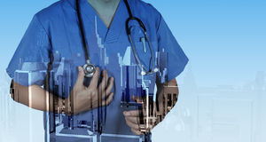 Double exposure of smart medical doctor working Stock Image