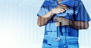 Double exposure of smart medical doctor working Royalty Free Stock Photo