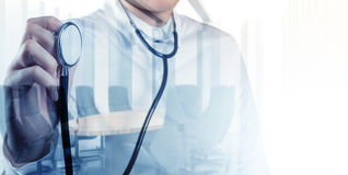Double exposure of smart medical doctor working Royalty Free Stock Photos