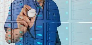 Double exposure of smart medical doctor working Stock Photo