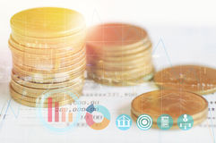 Double exposure staked of coins. On account book finance and banking and city- concept in grow and walk step by step for success in business Stock Image