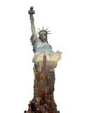 Double Exposure statue of liberty and new york city, USA Stock Images