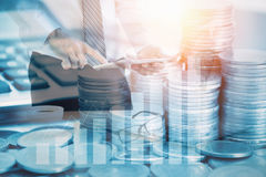 Double Exposure Stock Financial Indices On Currency Exchange.Financial Stock Market In Accounting Market Economy Analysis Royalty Free Stock Image
