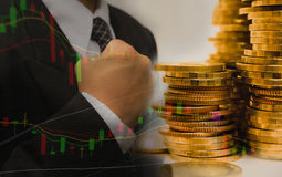 Double exposure stock financial with stack coins and cheerful Royalty Free Stock Images