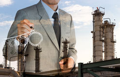 Double exposure strategy business man drawing  gear Stock Photos