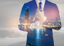 Double exposure of success business man city background.time for. Business.concept fast move business Royalty Free Stock Photo