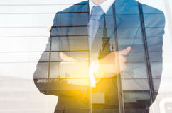 Double exposure of success businessman Royalty Free Stock Image