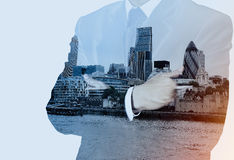 Double exposure of success businessman with abstract building Stock Photography