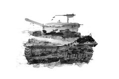 Double Exposure tanks. And military image stock image