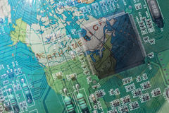 Double exposure technology background and map stock photography