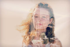 Double exposure of teen girl and Chicago cityscape Royalty Free Stock Images