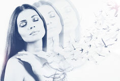 Double exposure of tender sensual beautiful woman Royalty Free Stock Photo