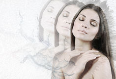 Double exposure of tender sensual young woman Royalty Free Stock Photography