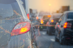 Double exposure of traffic jam with row of cars Royalty Free Stock Photos