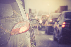 Double exposure of traffic jam with row of cars Stock Photo
