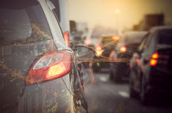 Double exposure of traffic jam with row of cars Royalty Free Stock Images