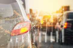 Double exposure of traffic jam with row of cars Royalty Free Stock Photo