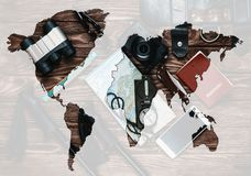 Double exposure of travel objects with map of world. royalty free stock photos