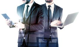 Double exposure of two businessmen Royalty Free Stock Photo